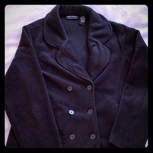 Black fleece double breasted jacket. Size M.